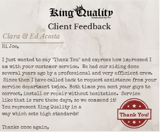 king quality construction client feedback