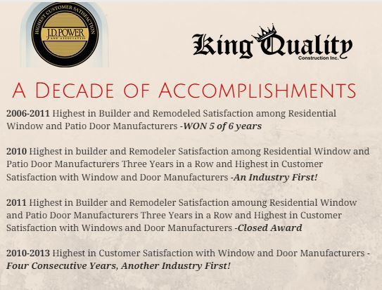 JD Power & Associates - a decade of awards for King Quality Construction