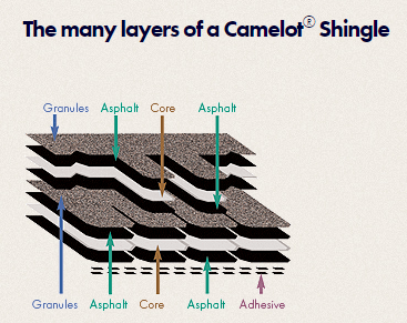 Cross section of a Camelot shingle