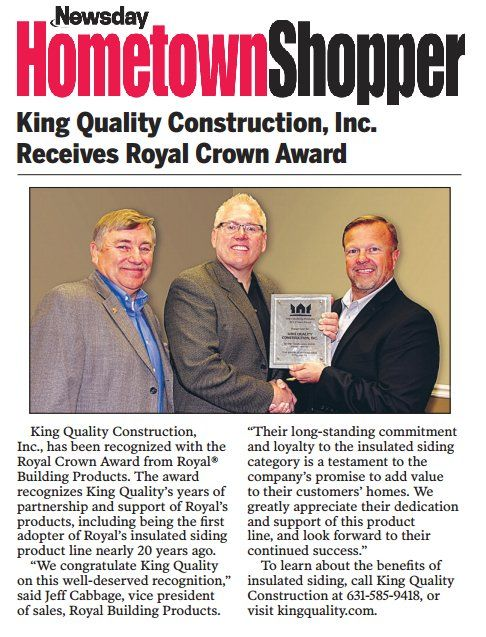 King Quality Construction receives Royal Crown Award.