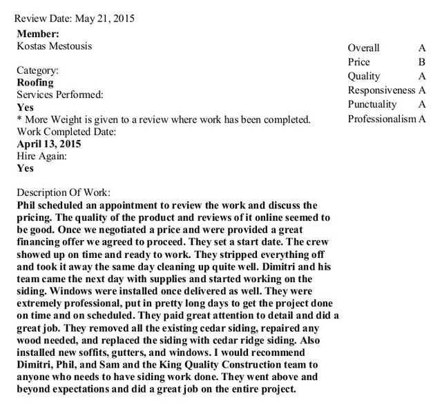 king quality construction project testimonial