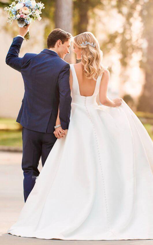 4c5e09711624 Royal Inspired Simple Wedding Dress 6758.