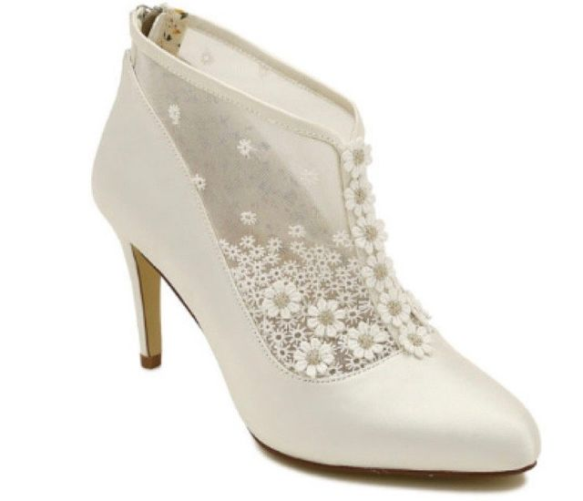 d2a60596b3d1 Hattie Wedding Shoes from Isobel Florence. Hattie. A vintage inspired bridal  bootee in soft ivory satin ...