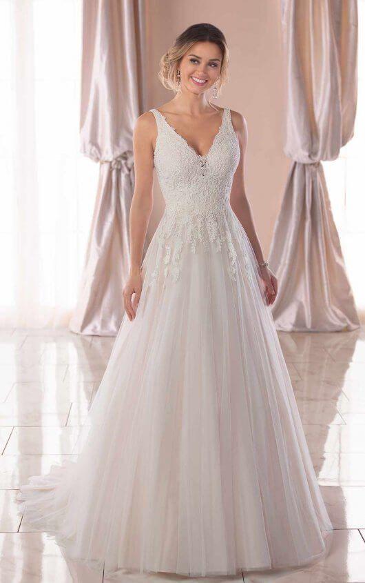fe2f0674146d4 Modest A-Line Lace Wedding Dress 6821.