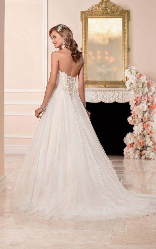 737cbad2bf8 A-Line Wedding Dress With Princess Cut Neck Line 6357