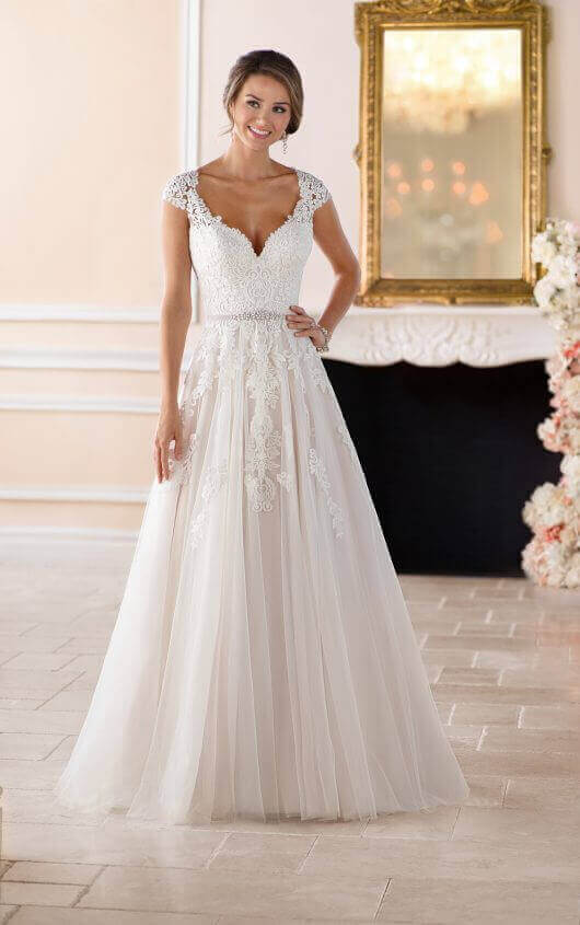 59f945ef7f Romantic Lace Wedding Dress With Cameo Back front view