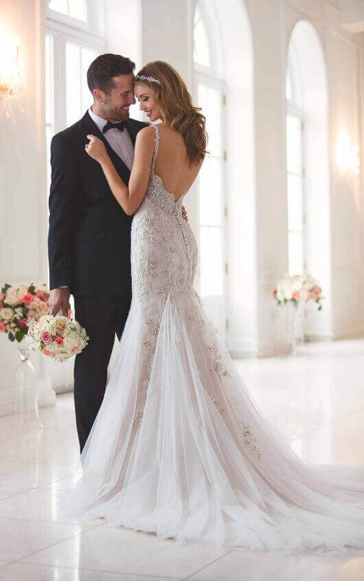 3e99e52b31fa5 Silver Beaded Open Back Wedding Dress back view