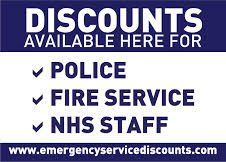 Discounts available here for police, fire service and NHS staff
