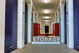 Inside a storage unit facility