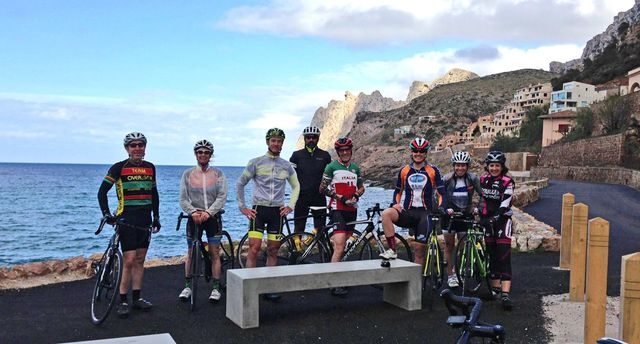 group of cyclists at a cycling camp in Mallorca Spain