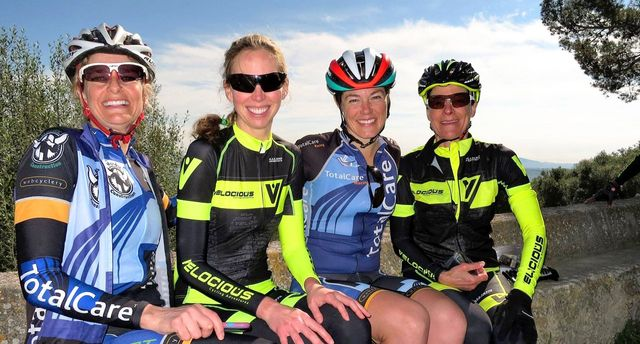 group of women cyclists at a cycling camp in Mallorca Spain
