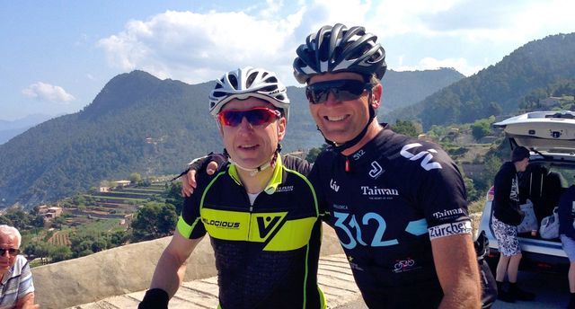 two cyclists at a cycling camp in Mallorca Spain