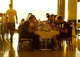 Dining at cycling camp in Spain