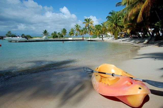 canoe and beach at cycling camp in Guadeloupe