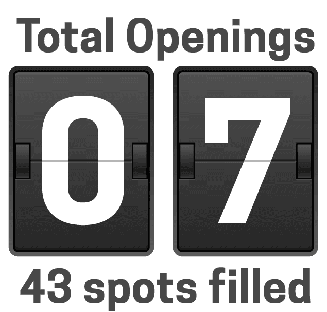 7 total openings remain
