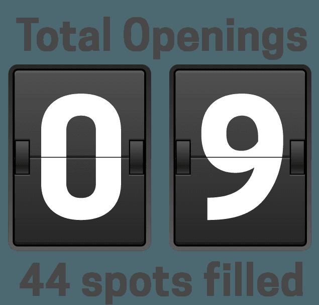 6 total openings remain