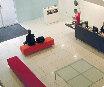 Tiled office flooring in a waiting area