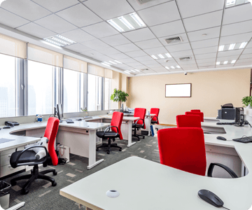 Office area with red chairs