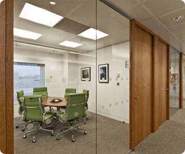 Meeting room showing glass partitioning