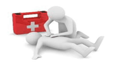 animation of someone giving first aid treatment