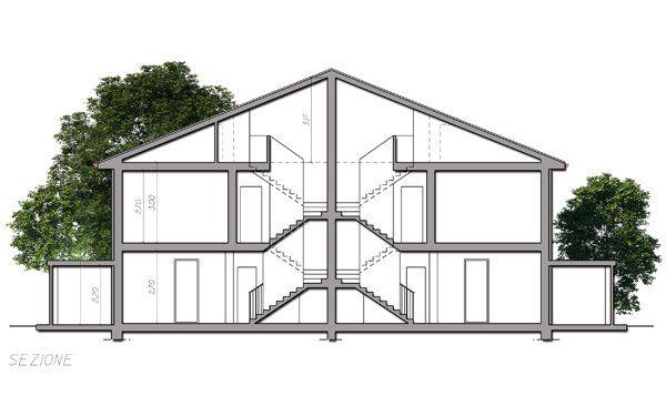vista frontale di una casa