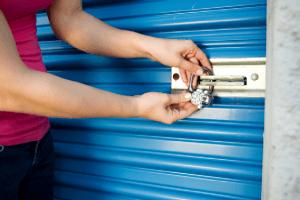 Lady locking storage door for saftey