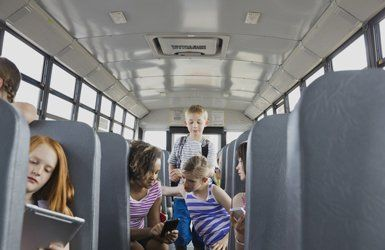 children in the minibus
