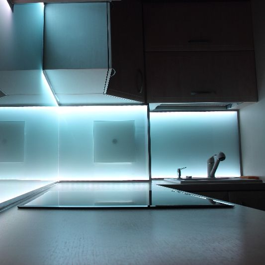 Led Lighting behind and under kitchen cabinets