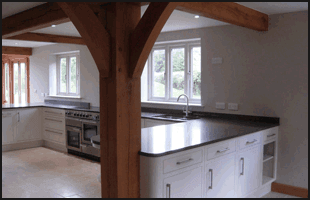 Wooden beams in kitchen