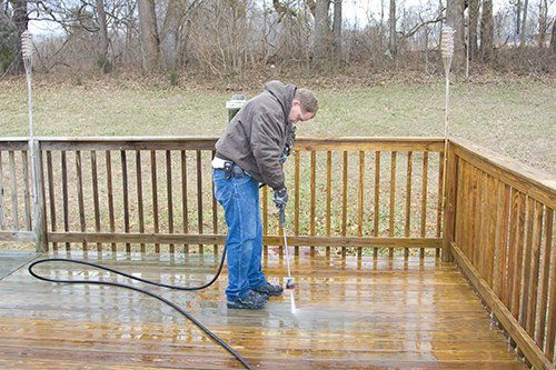 One of our painting contractors providing power washing in Deep River, CT