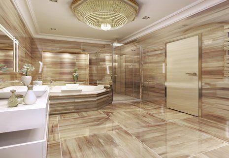 Vista di un bagno moderno con le piastrelle alle pareti e sul pavimento a San Pietro Vernotico