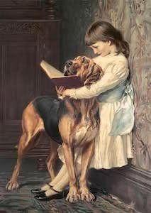 un quadro con una bambina che legge un libro