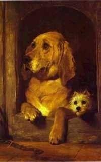un quadro con un cane e un gatto