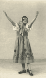 black and white image of a girl performing