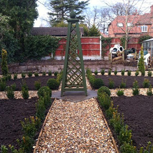 formal style garden with gravel paths