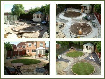grassy roundels before and after construction