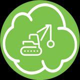 nuvoletta verde con mezzo industriale disegnato all'interno