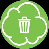 nuvoletta verde con il disegno di un cestino dei rifiuti