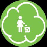 nuvoletta verde con una donna stilizzata che getta rifiuti in un contenitore per la differenziata