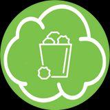 nuvoletta verde con contenitore dell'immondizia