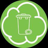 nuvoletta verde con cestello per la raccolta di rifiuti
