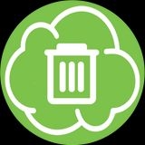 nuvoletta verde con cesto dei rifiuti