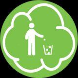 nuvoletta verde col disegno di un omino che getta rifiuti in un secchio