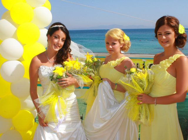 3 girls including the bride