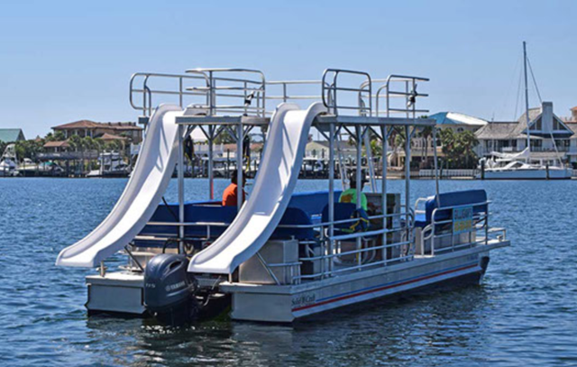 Image result for double slide pontoon boat