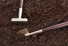 A spade and fork in soil