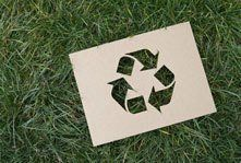 Cut-out Recycling logo on grass