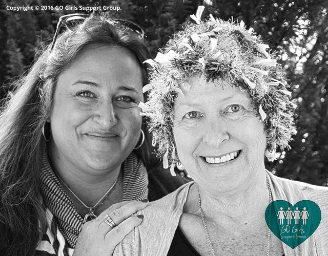 Marian and Vanessa from the support group smiling and being happy