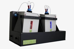 Algae photobioreactor, with two reactor vessels and red and blue leds