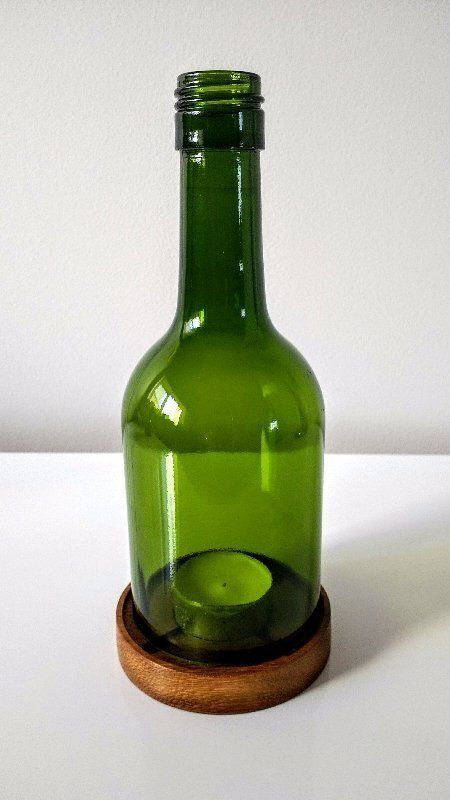 upcycled glass bottle, wine bottle candle, wine bottle tea light holder, upcycled candle holders
